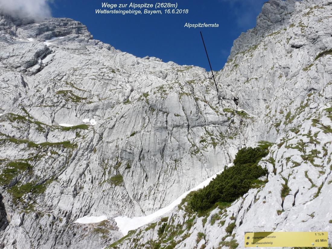 Klettersteig Alpspitze : Alpspitze 2628m nordwandsteig bernadeinkopf 2143m schöngänge