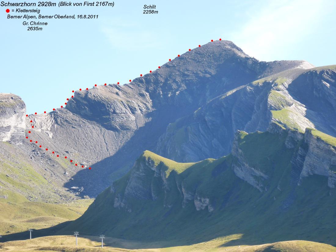 Klettersteig Grindelwald : Schwarzhorn bei grindelwald m tyrolienne first flieger
