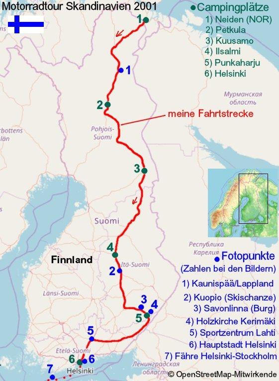 Lappland Karte.Nordfinnland Lappland Bis Nach Lahti Finnland Motorradtour