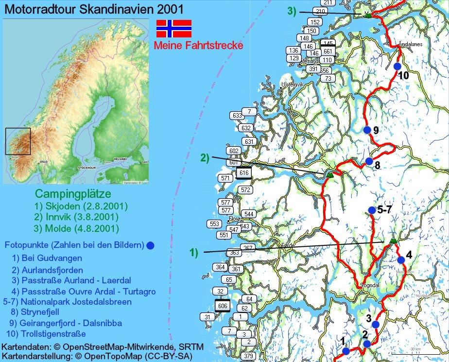 Karte Norwegen Mit Polarkreis.Geiranger Geirangerfjord Trollstigen Norwegen Motorradtour