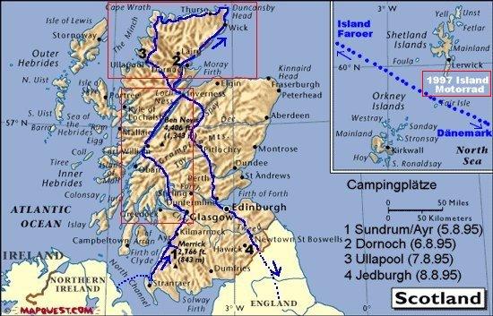 Ubersicht Schottland North Channel Motorradtour Schottland